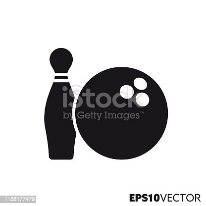Bowling pin and ball solid black icon. Glyph symbol of sports and equipment. Leisure game flat vector illustration.