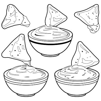 Kase Guacamole Avokado Sosu Domates Salsa Peynir Sosu Ve Cips Cips