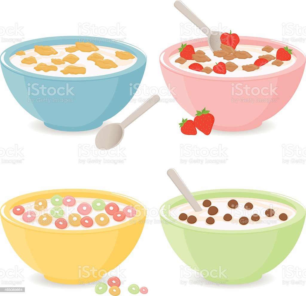 Bowls of breakfast cereal vector art illustration