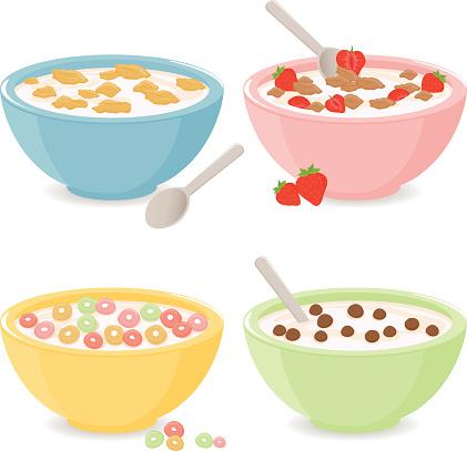 Taças De Cereais De Pequenoalmoço - Arte vetorial de stock e mais imagens de 2015
