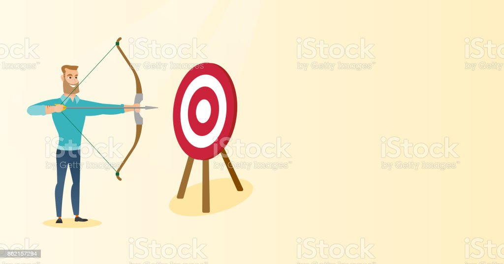 Bowman aiming with a bow and arrow at the target vector art illustration