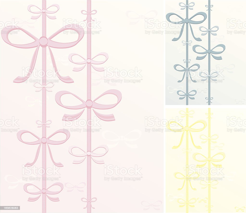 Bows Background Set - Pink, Blue, Yellow royalty-free stock vector art