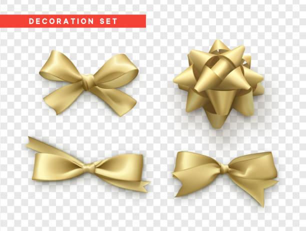 ilustrações, clipart, desenhos animados e ícones de arcos de ouro design realista. o presente isolado curva-se com fitas - cabeça