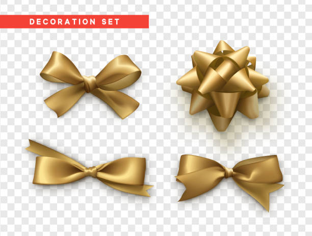 Bows gold realistic design. Isolated gift bows with ribbons vector art illustration