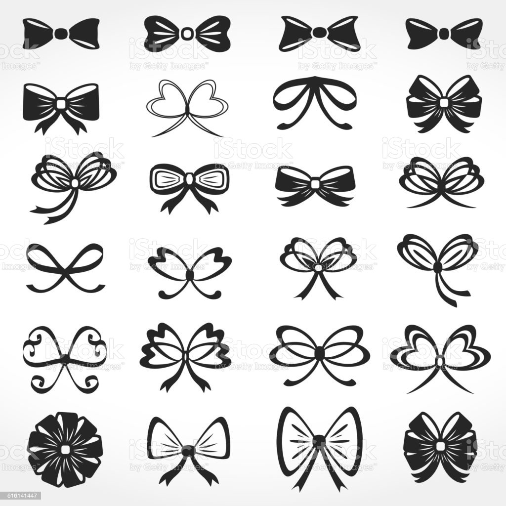 Bows Icons vector art illustration