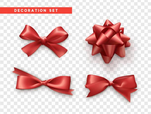 활 빨간색 현실적인 디자인입니다. 리본이 달린 고립된 선물 활 - 머리 리본 stock illustrations