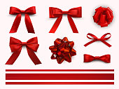 Bows with ribbons set, decorative and festive design. Vector flat style cartoon illustration isolated on white background