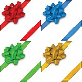 Gift Bows with ribbons in four colors. EPS10 transparency effect, effect transparent shadows.