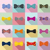 Bowtie ribbon man tuxedo icons set, flat style