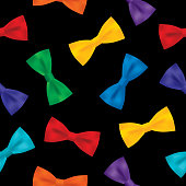 Vector seamless pattern of colorful bowties on a black background.