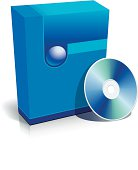 Blue blank 3d box with CD
