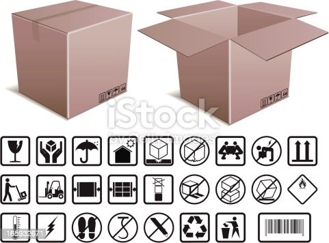 Open and closed cardboard boxes with illustrated instructions. Files included – jpg, ai (version 8 and CS3), and eps (version 8)