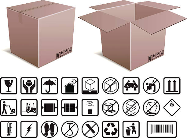 Box and Handling Instructions Open and closed cardboard boxes with illustrated instructions. Files included – jpg, ai (version 8 and CS3), and eps (version 8) fragility stock illustrations
