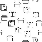 Box Carton Package Vector Seamless Pattern