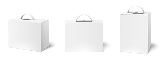 Box case with handle. Package boxes mockup, blank white packaging handles and cardboard product packing. Cosmetic products advertising bag. Realistic 3d vector illustration isolated icons set