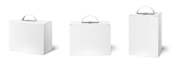 Box case with handle. Package boxes mockup, blank white packaging handles and cardboard product packing 3d vector illustration set Box case with handle. Package boxes mockup, blank white packaging handles and cardboard product packing. Cosmetic products advertising bag. Realistic 3d vector illustration isolated icons set handle stock illustrations