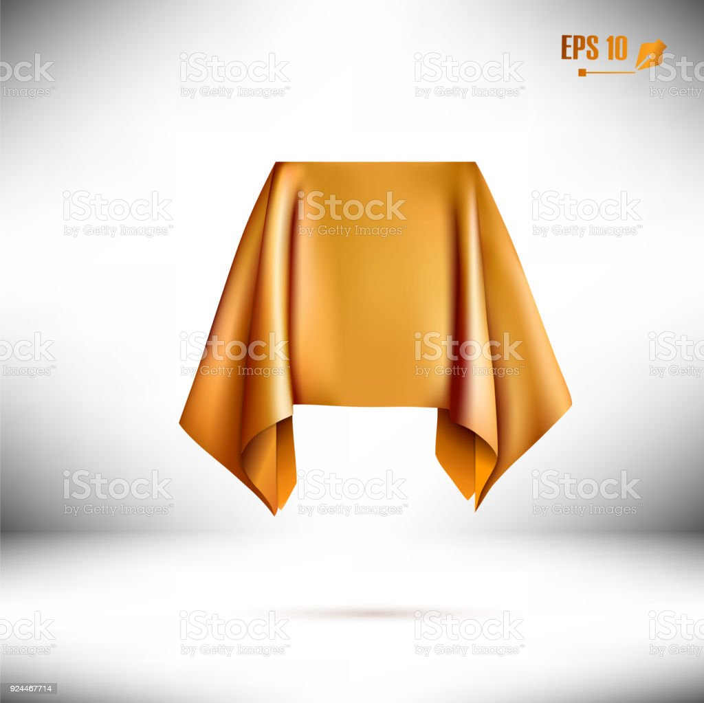 Box Covered With Gold Cloth. Prize Or Reward. vector art illustration