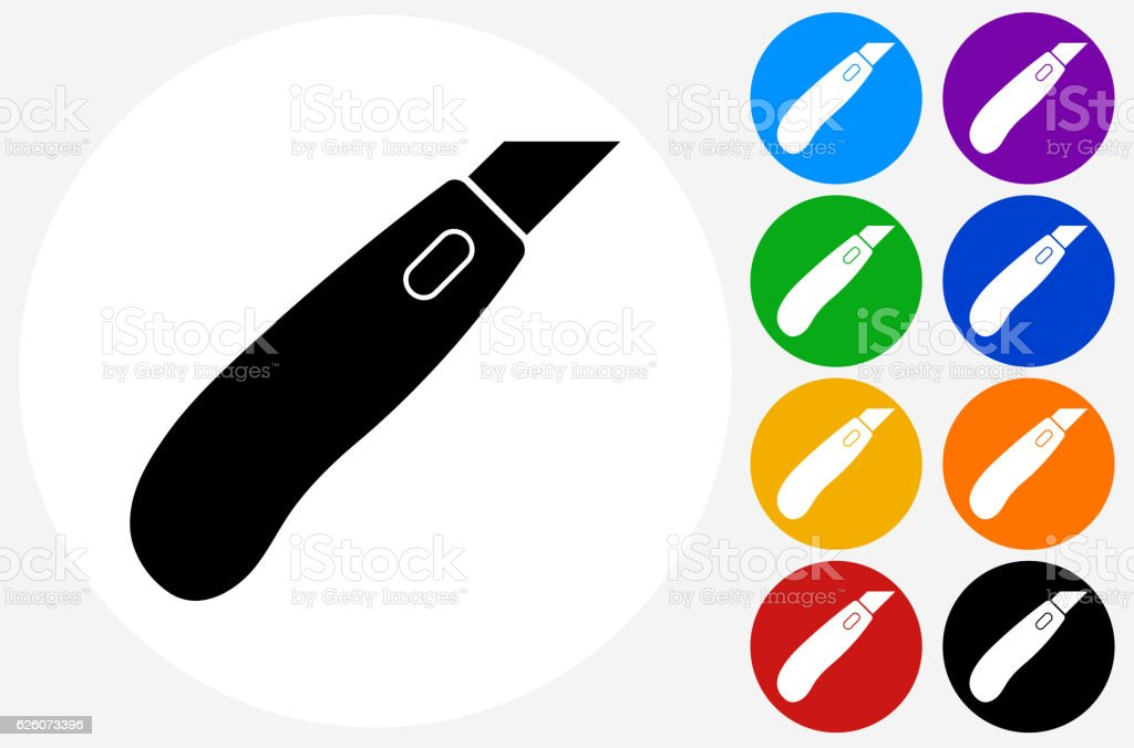 Box Cutter Icon on Flat Color Circle Buttons vector art illustration