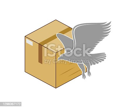 istock Box delivery with flying eagle 1296067172