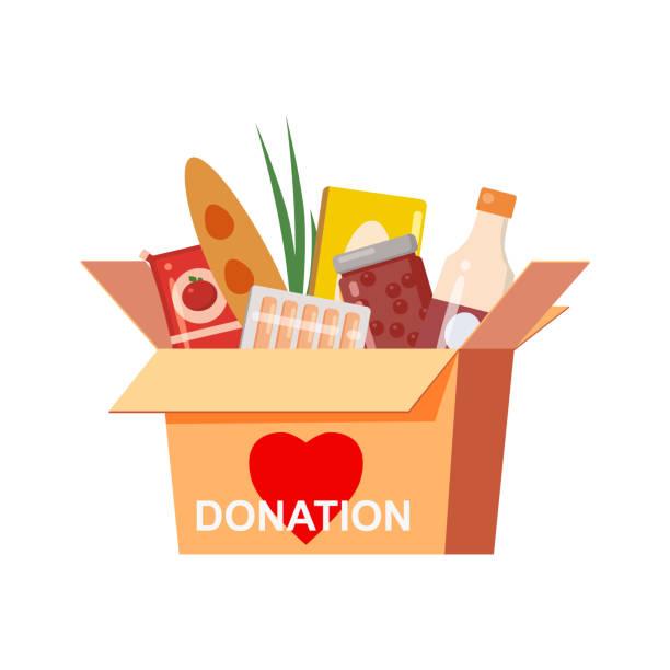 box-spende mit food charity. konserven, brot, getränke. mit textbanner spenden. cartoon vektor-illustration isoliert auf weißem hintergrund - grundnahrungsmittel stock-grafiken, -clipart, -cartoons und -symbole