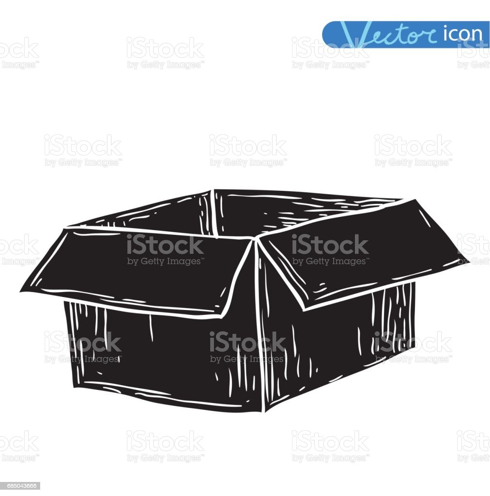box, doodle. vector illustration. black vector art illustration