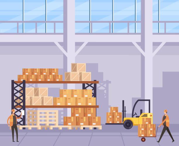 Box factory manufacturing shipping concept. Vector flat graphic design cartoon illustration vector art illustration