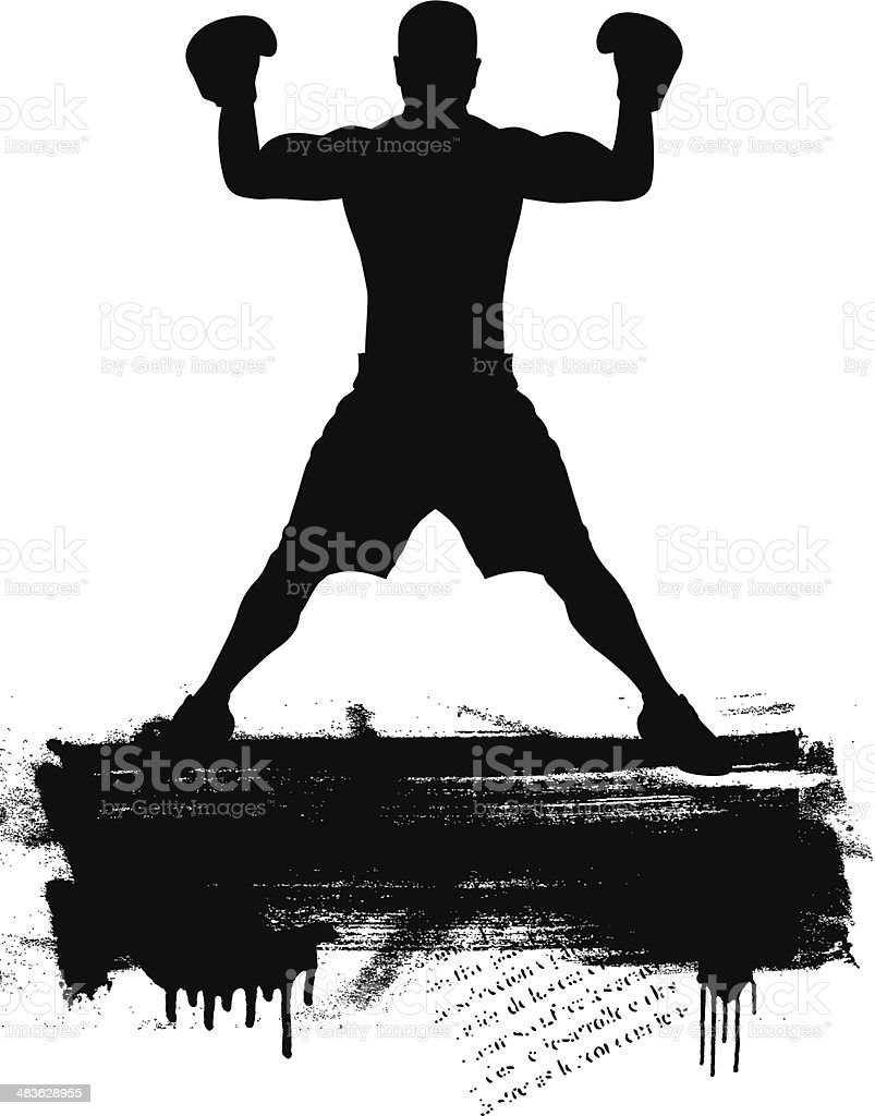 box fighter with grunge banner vector art illustration