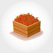 box fresh red apples. Eco products. Cartoon style. Vector illustration.