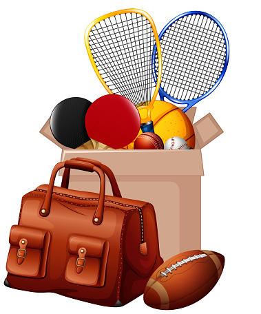 Box full of sport equipments in cardboard box