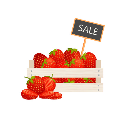 Box full of strawberry. Sale of berries. Vector illustration.