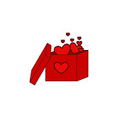 Box gift, heart, box in heart, valentine's day icon. Element of color Valentine's Day. Premium quality graphic design icon. Signs and symbols collection icon for websit, web design