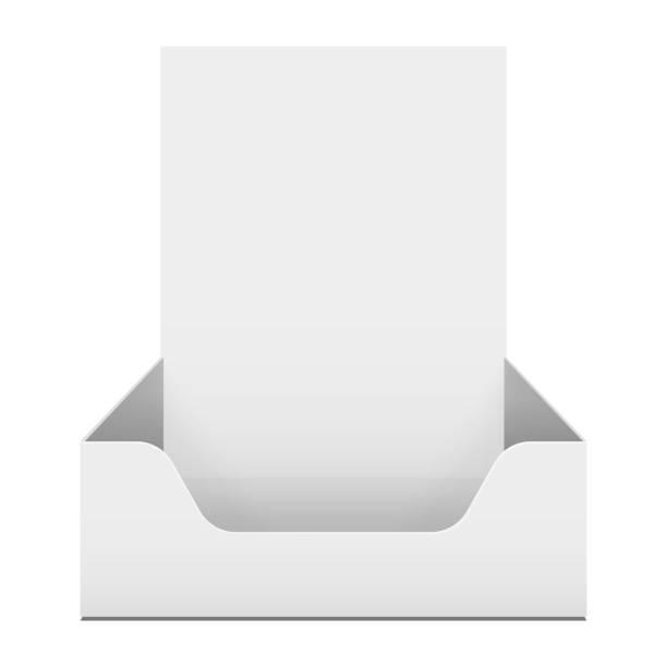 box holder for advertising fliers. - karton zbiornik stock illustrations