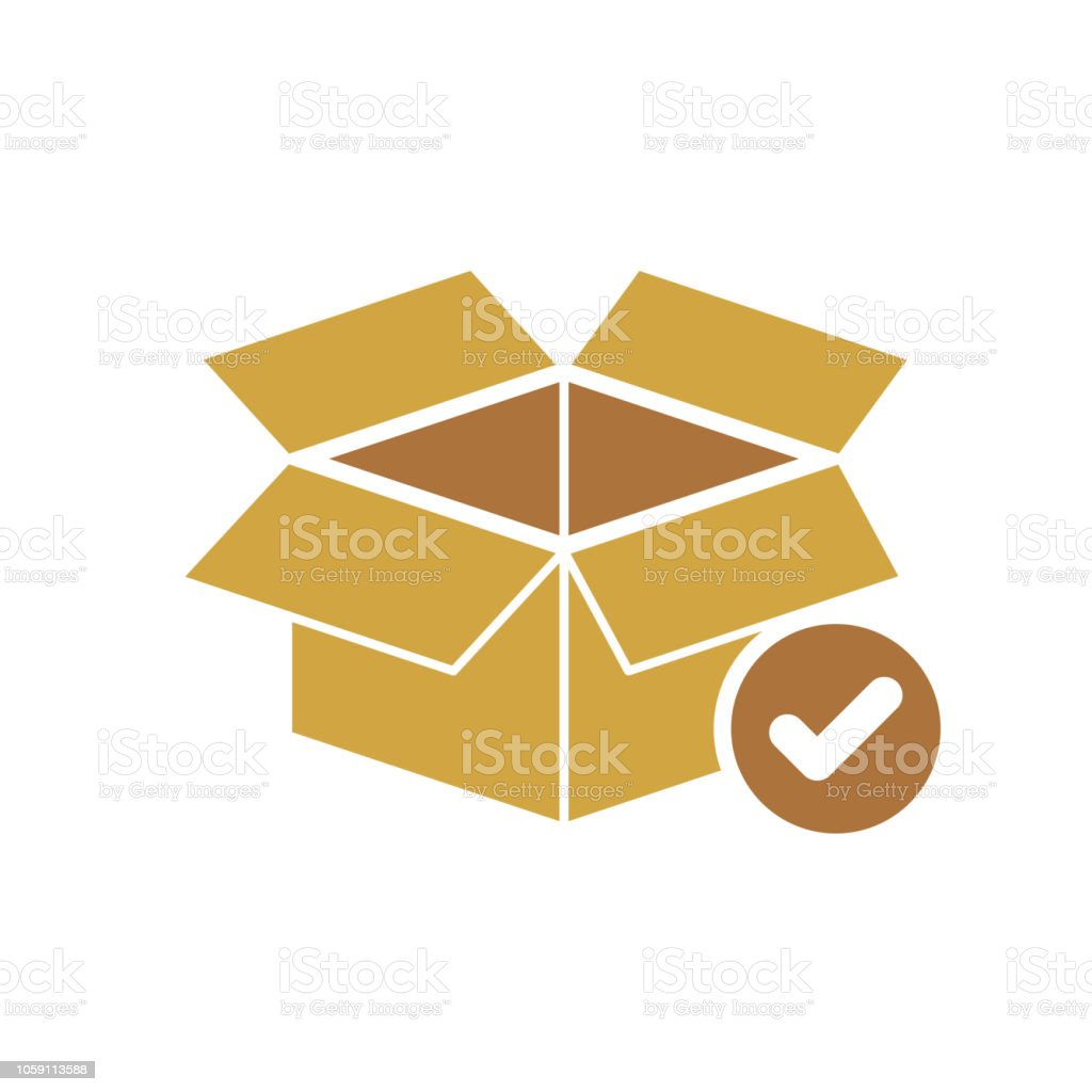 Box icon, delivery and shipping, open package, unbox icon with check sign. Box icon and approved, confirm, done, tick, completed symbol vector art illustration