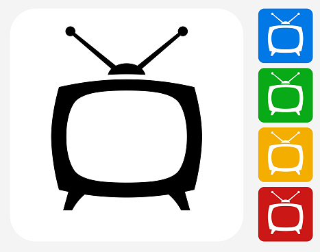 TV Box Icon. This 100% royalty free vector illustration features the main icon pictured in black inside a white square. The alternative color options in blue, green, yellow and red are on the right of the icon and are arranged in a vertical column.