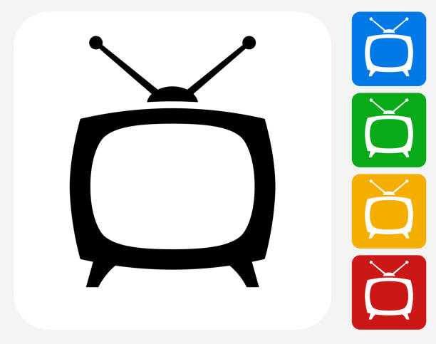 плоский телевизор box символ графического дизайна - телевизионная индустрия stock illustrations
