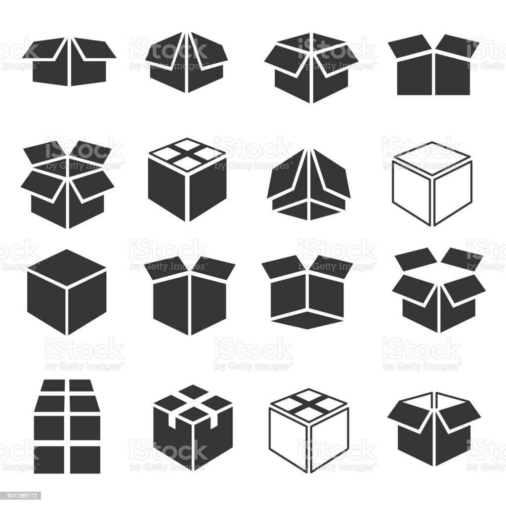 Box icon set vector art illustration