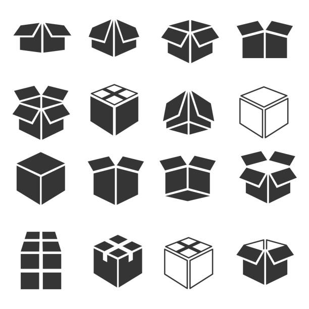 box icon set - boxes stock illustrations, clip art, cartoons, & icons