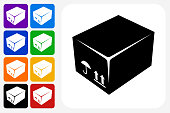 Box Icon Square Button Set. The icon is in black on a white square with rounded corners. The are eight alternative button options on the left in purple, blue, navy, green, orange, yellow, black and red colors. The icon is in white against these vibrant backgrounds. The illustration is flat and will work well both online and in print.
