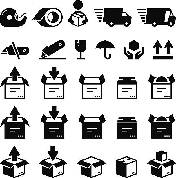Box Icons - Black Series Box symbols. Vector icons for video, mobile apps, Web sites and print projects. What's included in this set: Tape, Packing Tape, Delivery, Quick Ship Truck, Quick Ship Delivery Van, Do Not Cut, Utility Knife, Fragile, Keep Dry, Handle With Care, This Side Up, Unpack, Pack, Open Box, Ship, Box With Contents utility knife stock illustrations