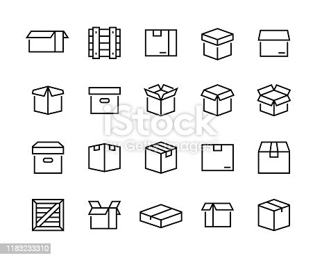 Collection of linear simple web icons such as cardboard boxes for parcels, wooden boxes, frames for sending. Editable vector stroke. 96x96 Pixel Perfect.