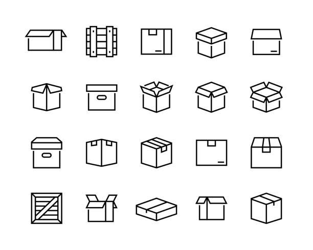 ボックスアイコンセット。編集可能なベクトルストローク。96x96ピクセルパーフェクト - box点のイラスト素材/クリップアート素材/マンガ素材/アイコン素材