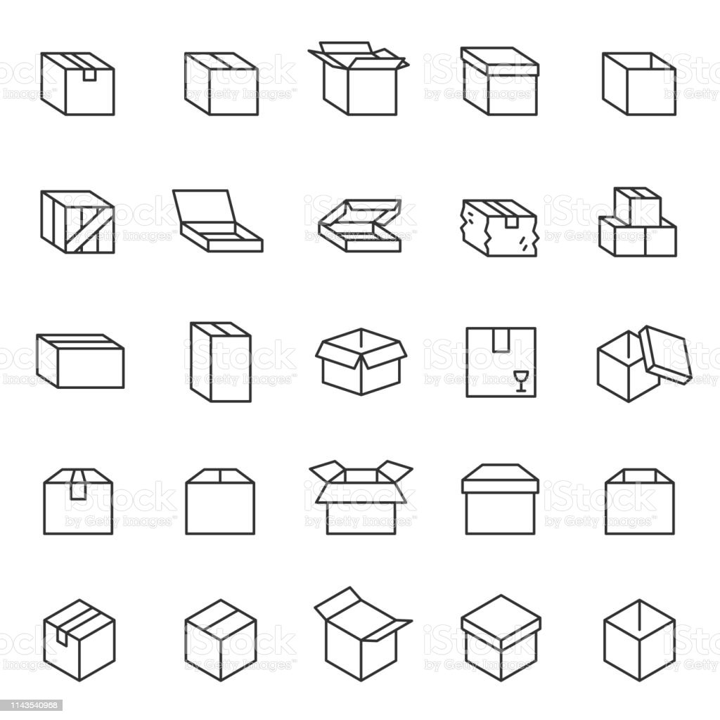 Box, lineares Icon-Set. Kartons. Bearbeitbare Schlaganfälle - Lizenzfrei Auslieferungslager Vektorgrafik