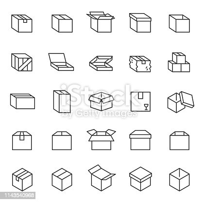 Box, icon set. Cardboard packaging boxes, linear icons. Line with editable stroke