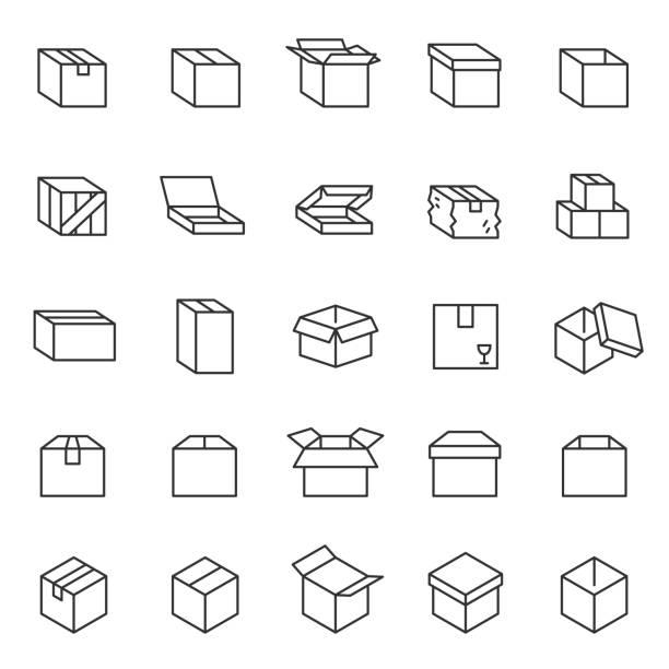 box, lineares icon-set. kartons. bearbeitbare schlaganfälle - holzkiste stock-grafiken, -clipart, -cartoons und -symbole
