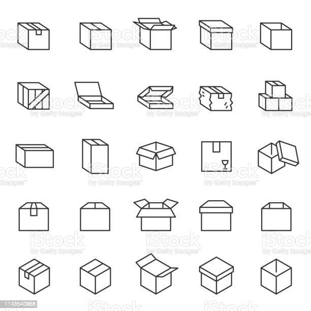 Box Lineares Iconset Kartons Bearbeitbare Schlaganfälle Stock Vektor Art und mehr Bilder von Auslieferungslager