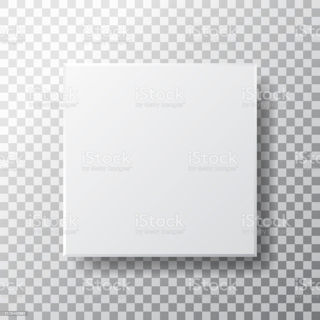 Box mockup isolated on transparent background. Realistic white box...