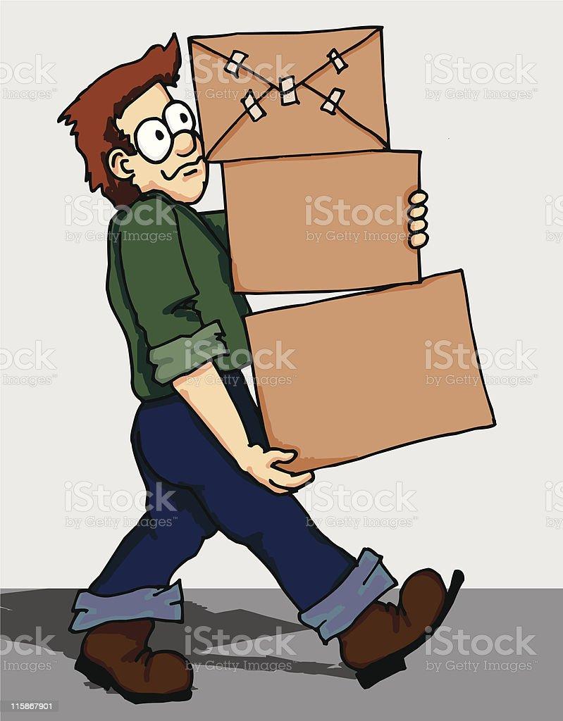 Box Moving Man royalty-free stock vector art