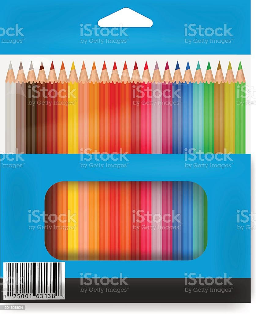 Box o colored pencils vector art illustration