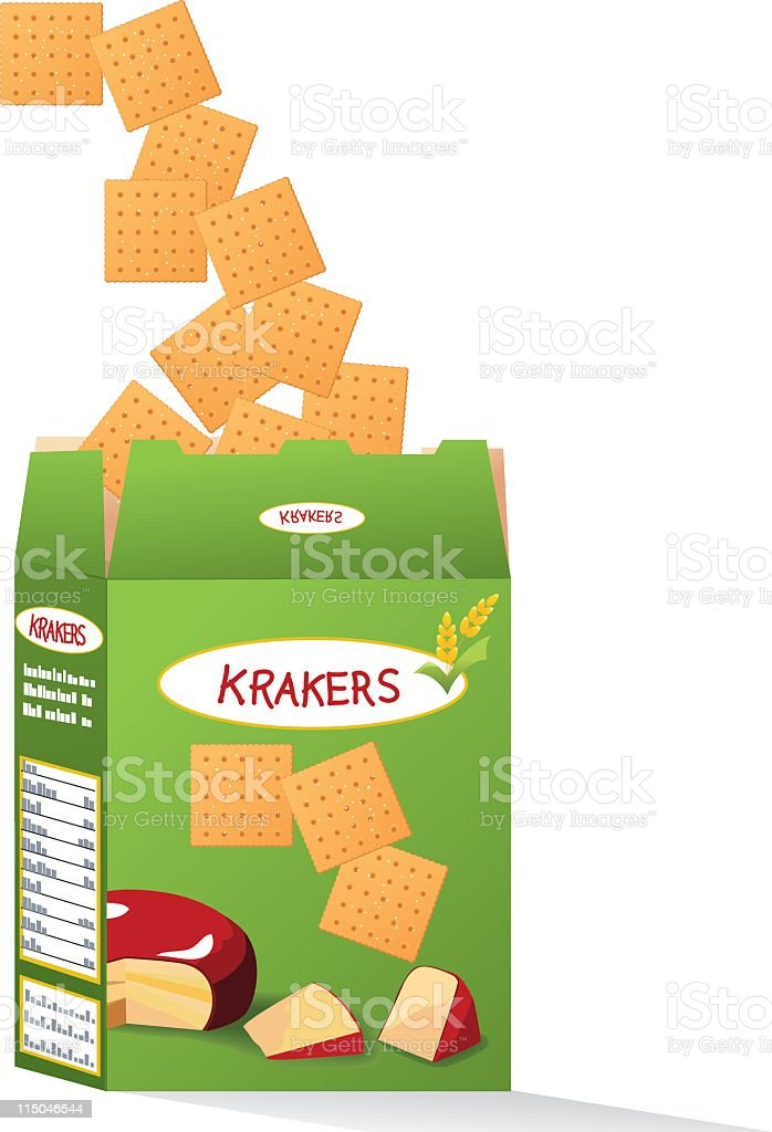 Box of Cheese Crackers royalty-free box of cheese crackers stock vector art & more images of box - container