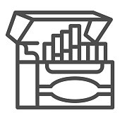 istock Box of cigarettes for electronic cigarette line icon, Smoking concept, Cigarettes pack sign on white background, mini cigarettes icon in outline style for mobile and web. Vector graphics. 1254849430